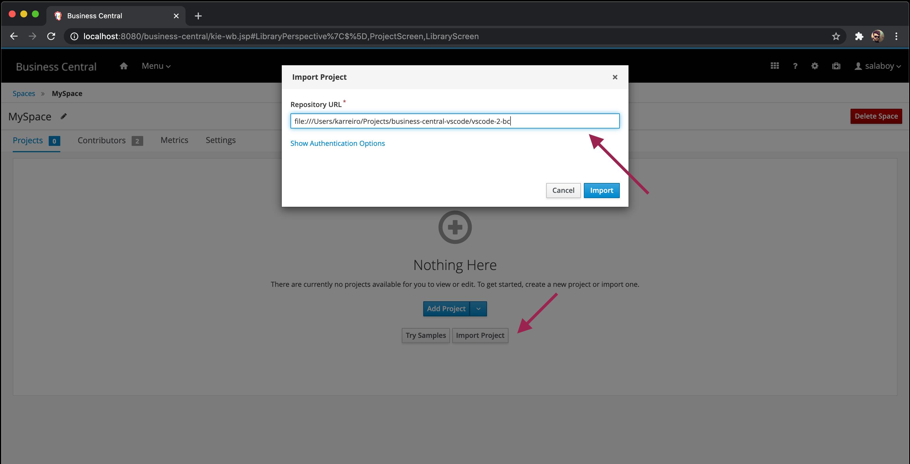 Import popup screenshot