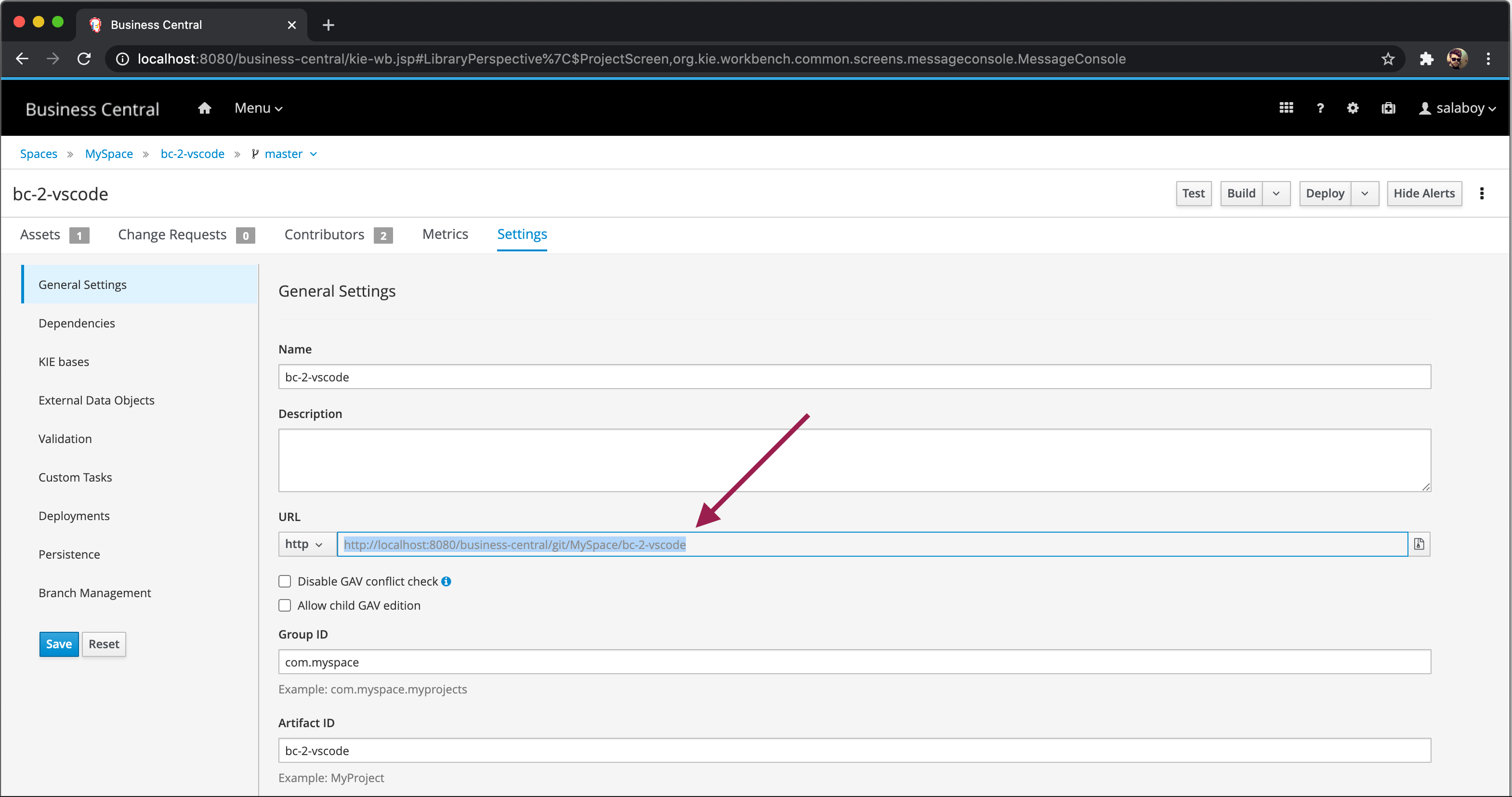 Business Central repository URL screenshot