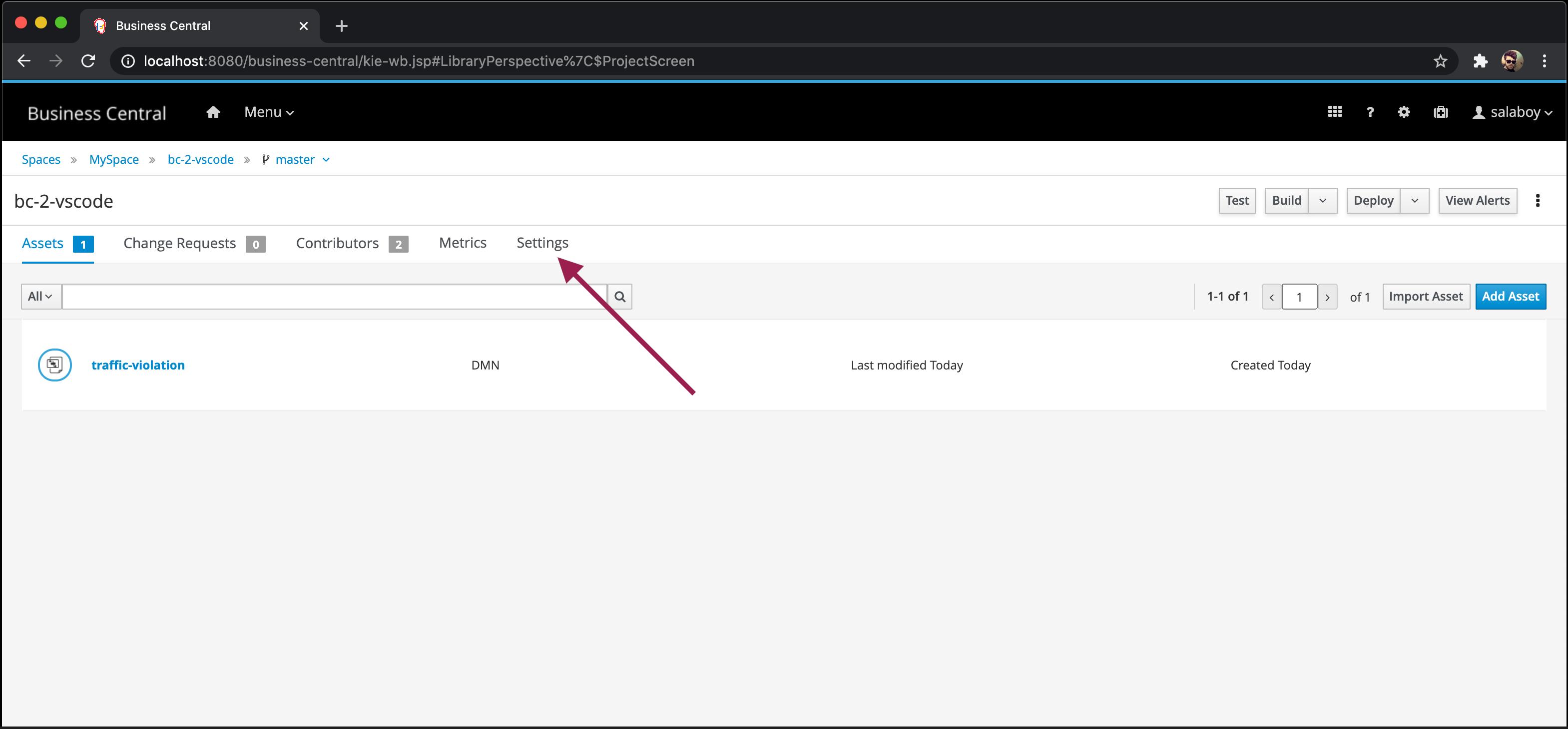 Setting tab screenshot